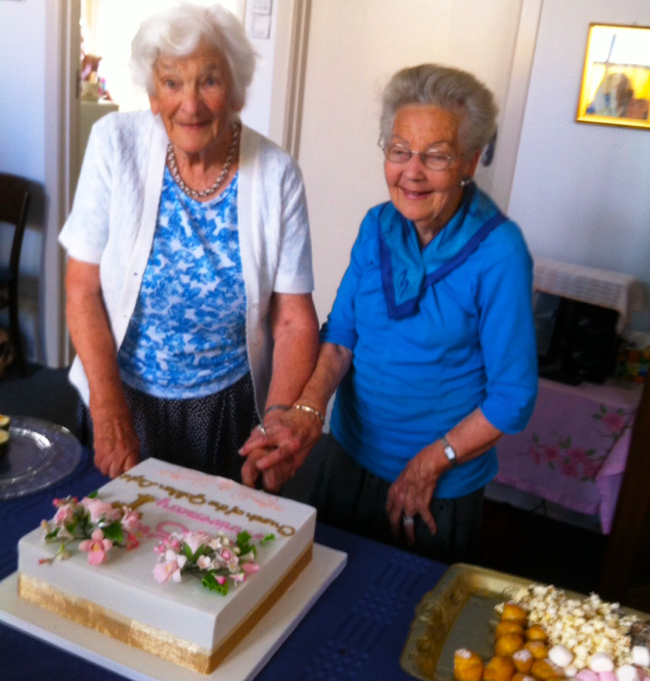 Shirley Parsons and Maisie Moncrieff Cut 85th Anniversary Cake