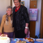 Maisie and Glenys Lindsay at Maisie's 90th birthday