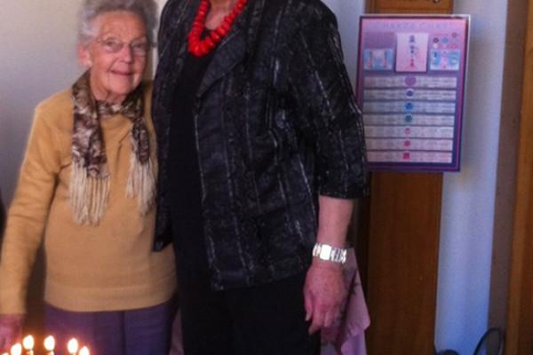 Maisie and Glenys Lindsay at Maisie's 90th birthday
